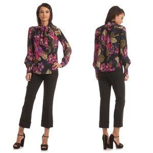 Trina Turk | Floral  Silk Tie-Neck Deming Blouse